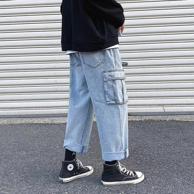 Pocketed Wide Leg Jeans - nightcity clothing