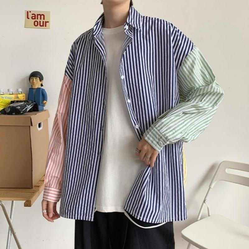 Primary Color Block Striped Shirt - nightcity clothing