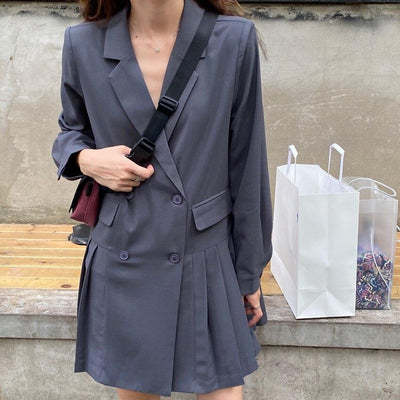 Slim Asymmetric Pleated Lightweight Blazer Mini Dress