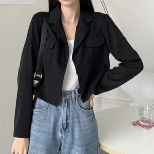 Slim Cropped Lightweight Worker Blazer - nightcity clothing
