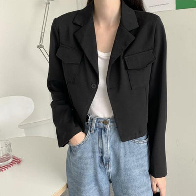 Slim Cropped Lightweight Worker Blazer
