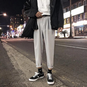 Slim Pinstripe Pants - nightcity clothing