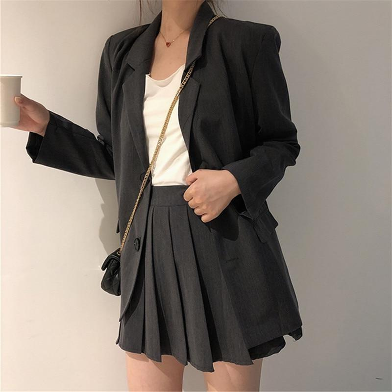 Slim Suit Blazer and Pleated Mini Skirt Two-Piece Set - nightcity clothing
