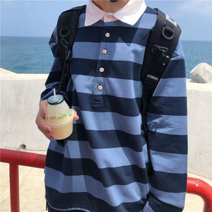 Striped Polo Long Sleeve Shirt - nightcity clothing