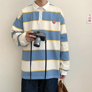Striped Polo Long Sleeve Shirt II - nightcity clothing
