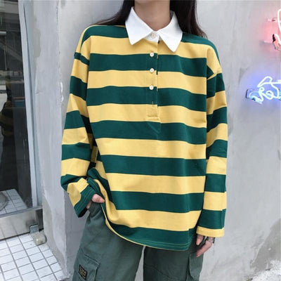 Striped Polo Long Sleeve Shirt