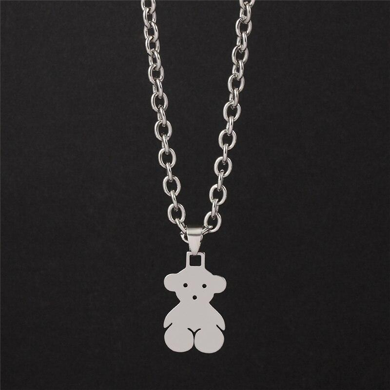 Teddy Bear Pendant Chain Necklace - nightcity clothing