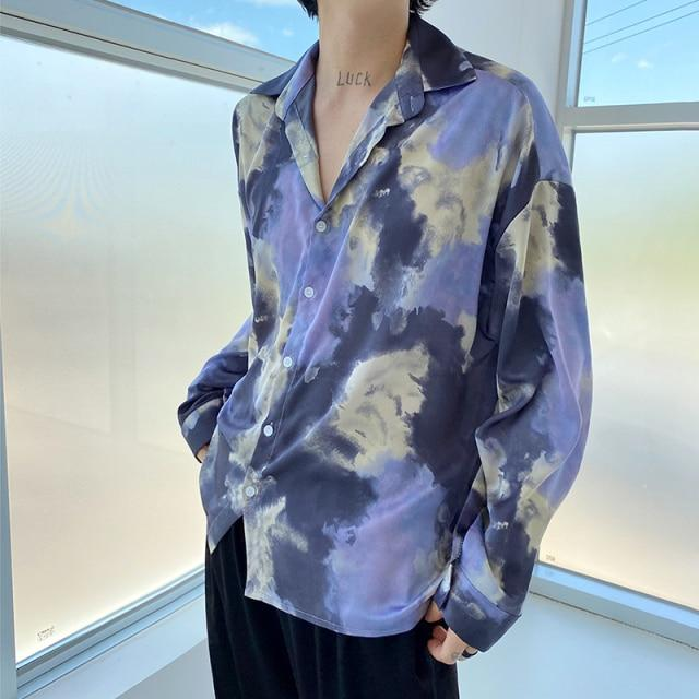 Tie Dye Open-Collar Shirt - nightcity clothing