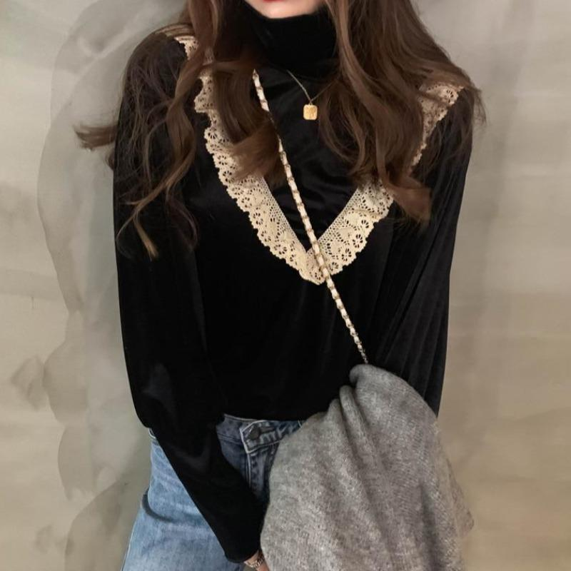Vintage Lace High-Neck Blouse - nightcity clothing