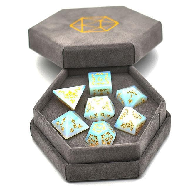 Gemstone Dice - Opalite Filigree - Set of 7 | Goblin Games NZ