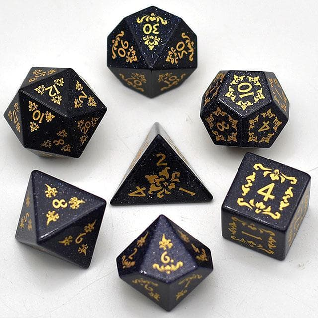 Gemstone Dice - Blue Goldstone Filigree - Set of 7 | Goblin Games NZ