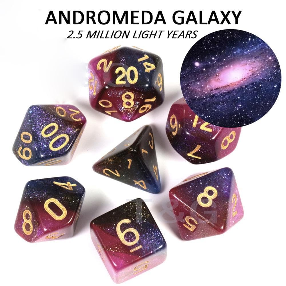 "RPG Dice - Cosmos ""Andromeda Galaxy"" - Set of 7 