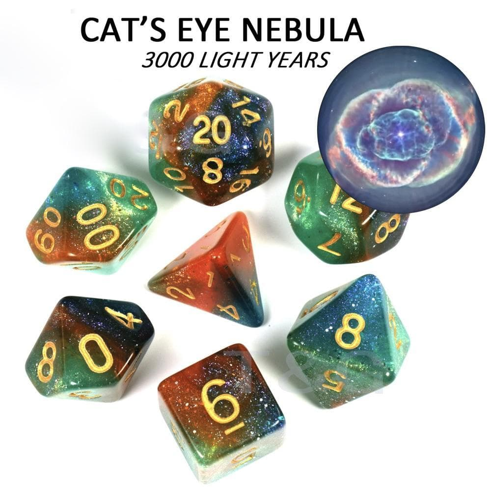 "RPG Dice - Cosmos ""Cat's Eye Nebula"" - Set of 7 