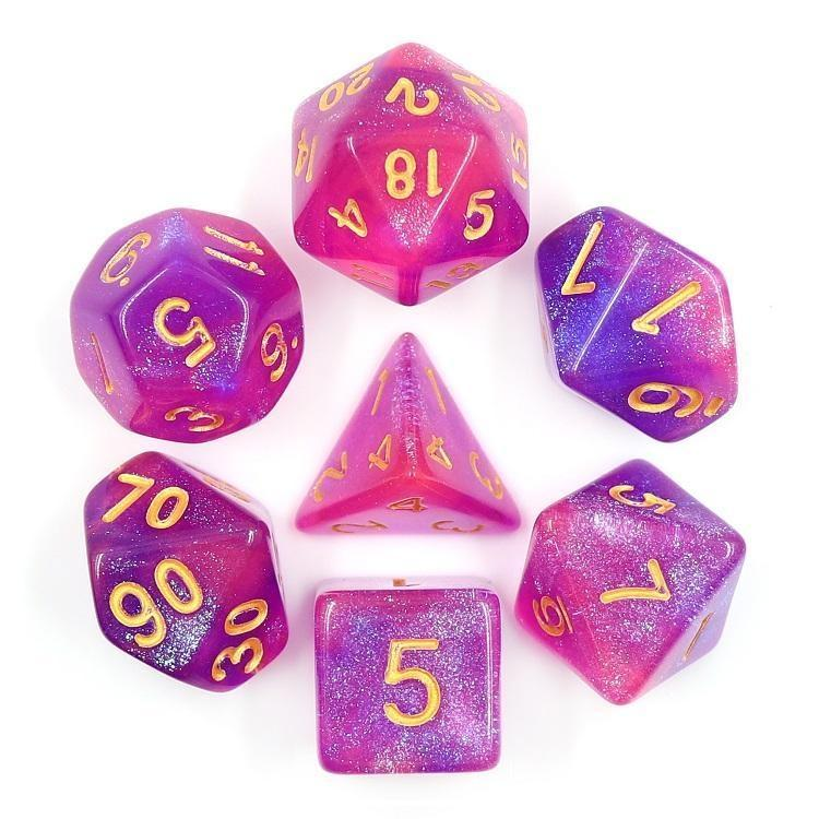 "RPG Dice - ""Arcane Aurora"" Gold Ink - Set of 7 