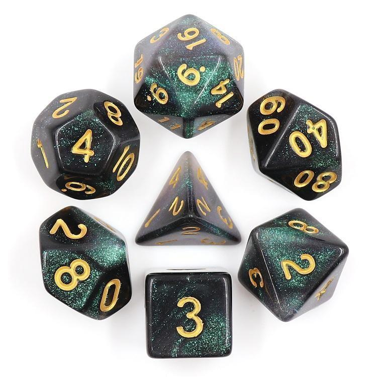 "RPG Dice - ""Emerald Aurora"" Gold Ink - Set of 7 