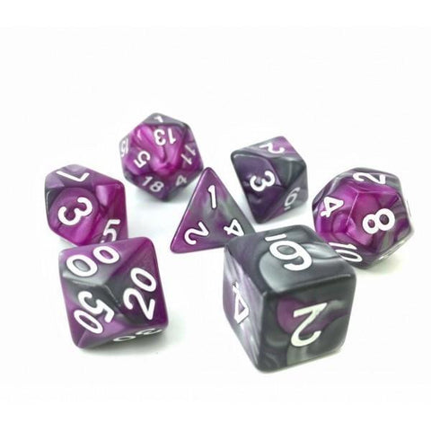RPG Dice 7 Set - Blend Silver Purple (White Font)