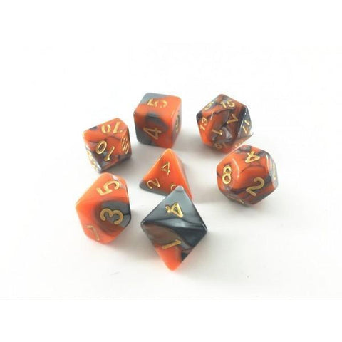 RPG Dice 7 Set - Blend Silver Orange (Gold Font)
