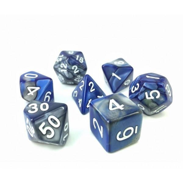 RPG Dice 7 Set - Blend Silver Blue (White Font)  | My Pop Culture | New Zealand