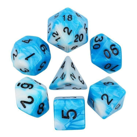 RPG Dice - Blend Blue White - Set of 7