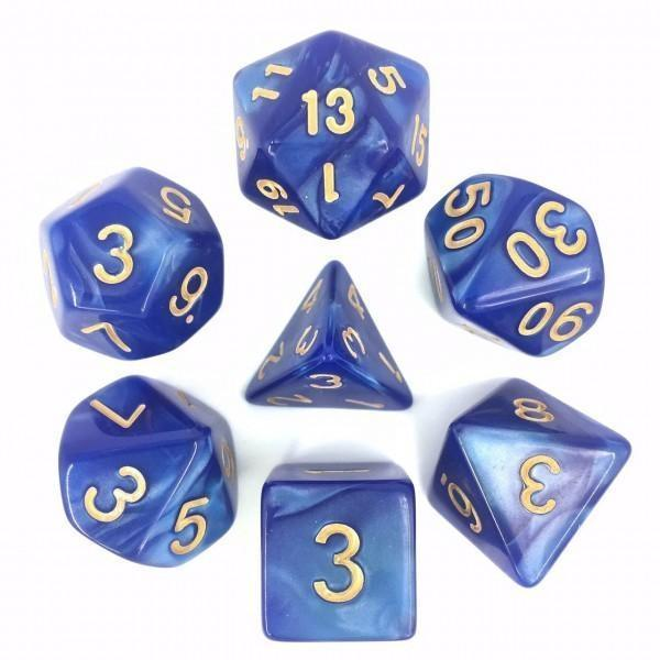 RPG Dice 7 Set - Pearl Blue (Gold Font) | Goblin Games NZ