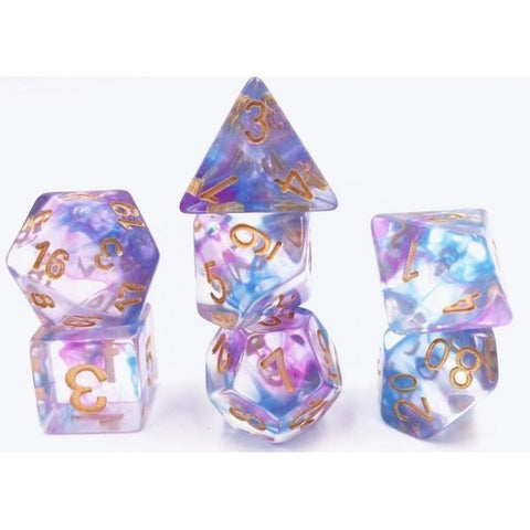 RPG Dice 7 Set - Swirl Blue Purple
