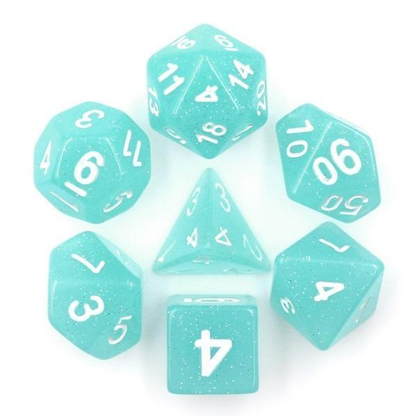 "RPG Dice - ""Ice Blue"" Translucent Glitter - Set of 7 