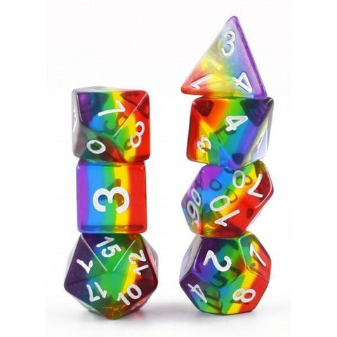 RPG Dice 7 Set - Transparent Layer Rainbow