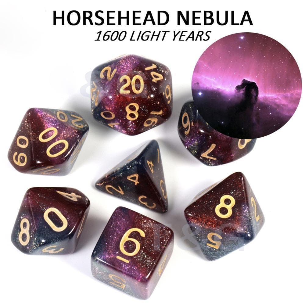 "RPG Dice - Cosmos ""Horsehead Nebula"" - Set of 7 