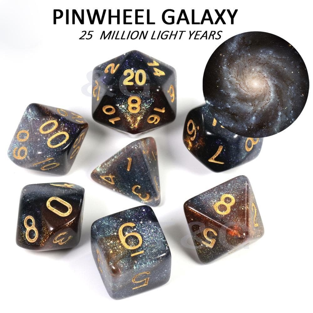 "RPG Dice - Cosmos ""Pinwheel Galaxy"" - Set of 7 