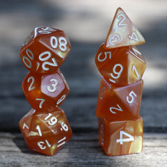 RPG Dice 7 Set - Pearl Gold (White Font) | Goblin Games NZ