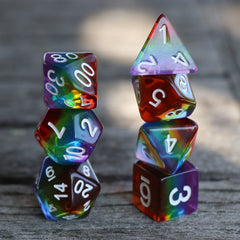 RPG Dice - Transparent Layer Rainbow - Set of 7 | Goblin Games NZ