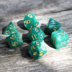 RPG Dice 7 Set - Pearl Green (Gold Font) | Goblin Games NZ