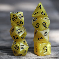 RPG Dice 7 Set - Pearl Yellow (Black Font) | Goblin Games NZ