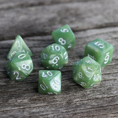 RPG Dice 7 Set - Pearl Pale Green (White Font) | Goblin Games NZ