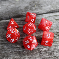 RPG Dice 7 Set - Pearl Red (White Font) | Goblin Games NZ