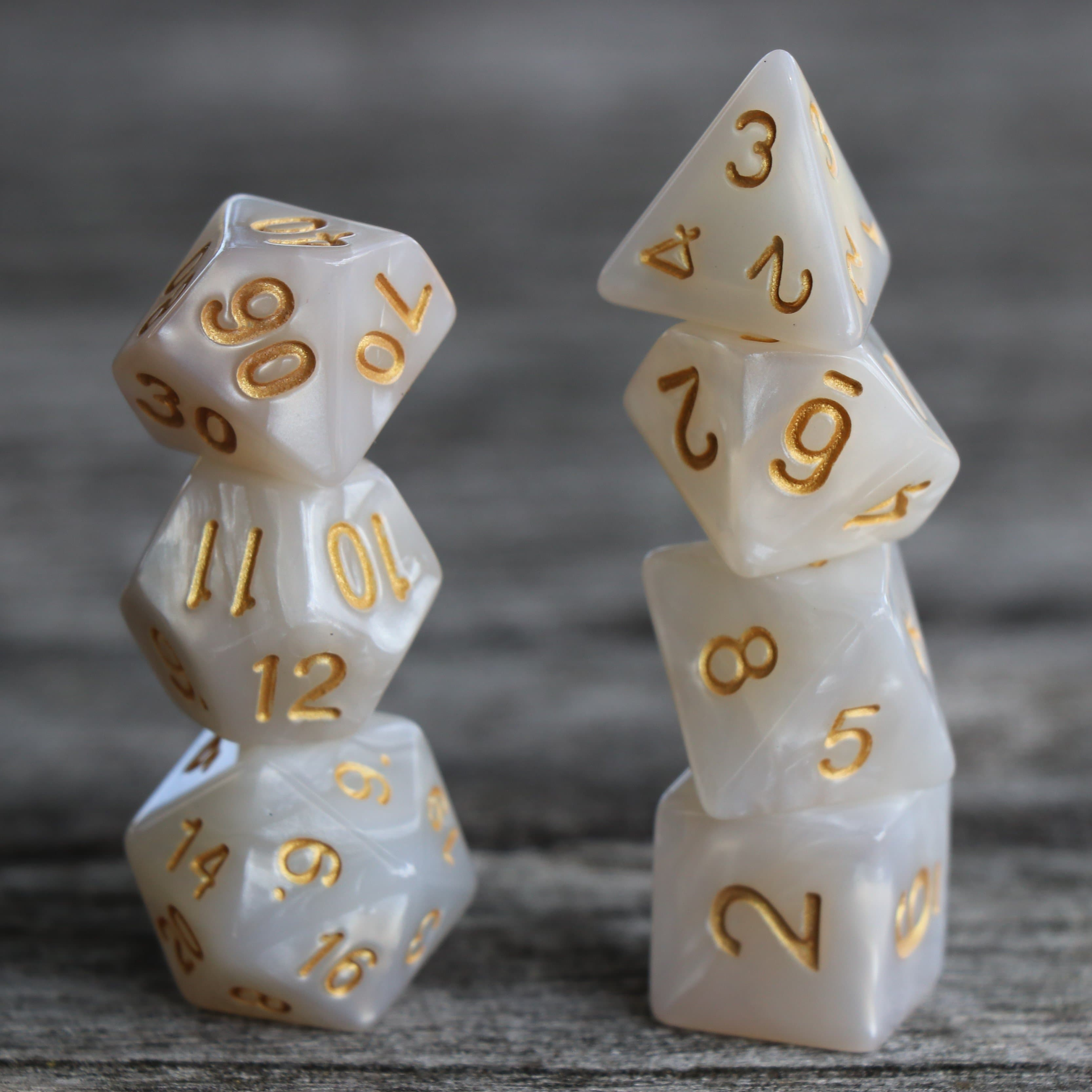 RPG Dice - Pearl White - Set of 7 | Goblin Games NZ