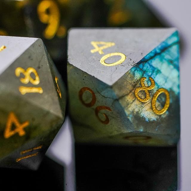Gemstone Dice | Natural Labradorite | Set of 7 | Goblin Games NZ