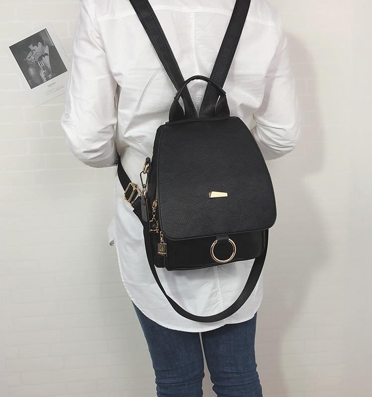Faux Leather Messenger Style Backpack - More than a backpack