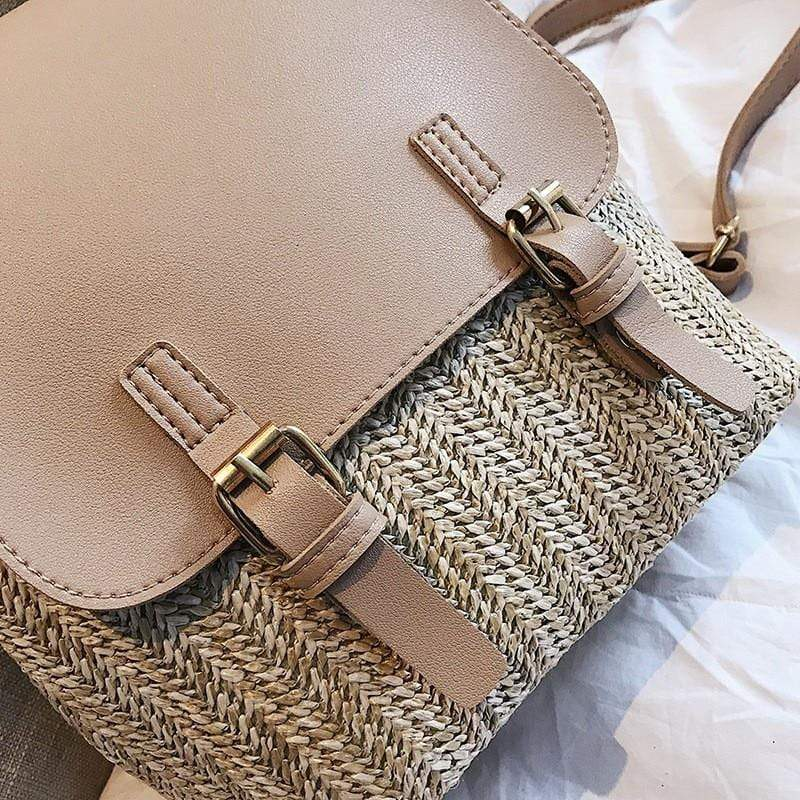 Faux Leather & Woven Straw Backpack - More than a backpack