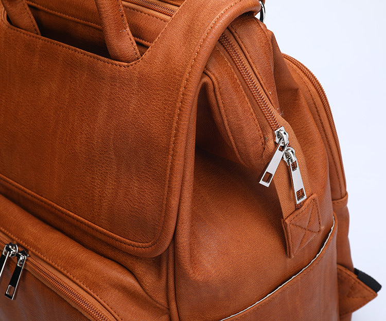 Faux Leather Diaper Bag Backpack