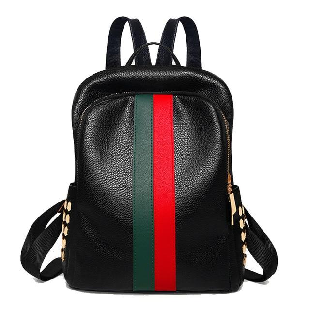 'The Stripe' - Faux Leather Striped Backpack - More than a backpack