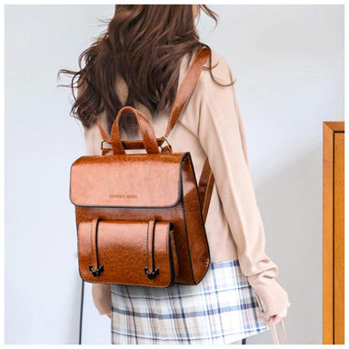 Vintage Faux-Leather Backpack - More than a backpack