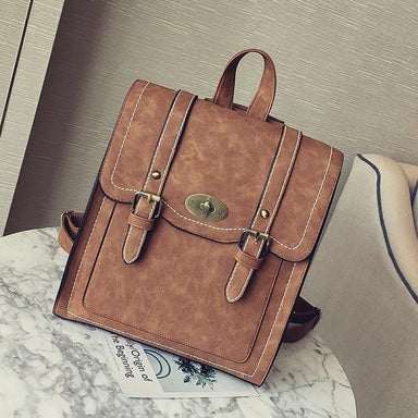 Vintage Faux Leather Buckle Backpack - More than a backpack