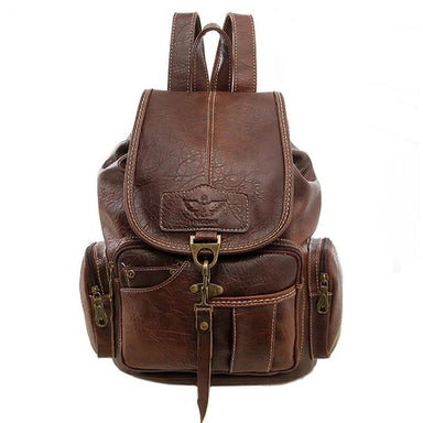 Vintage Faux Leather Drawstring Backpack - More than a backpack