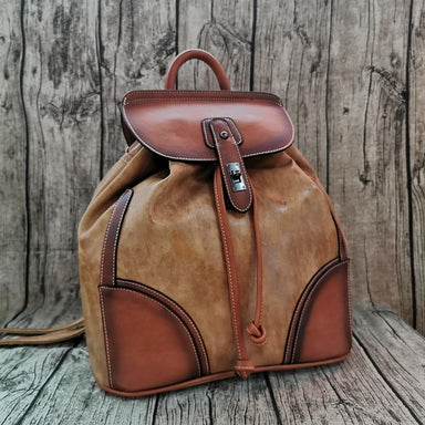Vintage Genuine Leather Camel Backpack - More than a backpack