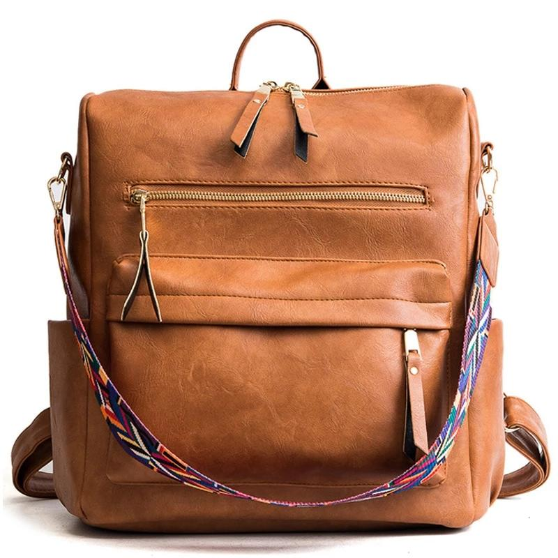 Vintage Large Faux Leather Travel Backpack - More than a backpack