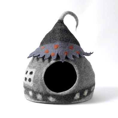 Wool Felt Fairy House Cave Bed - Grey