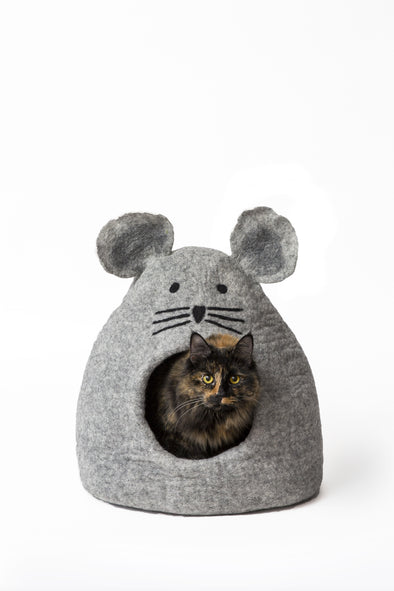 Wool Felt Mouse Cave Bed Grey