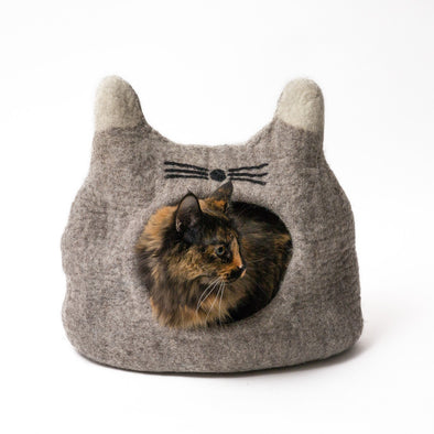 Wool Felt Cat Face Cave- Light Grey