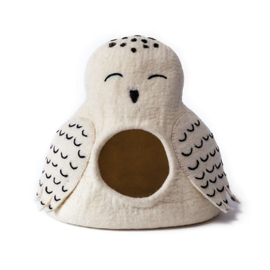 Wool Felt Owl Cave Bed White